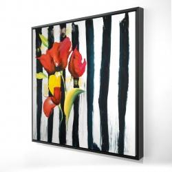 Framed 24 x 24 - 3D - Red flowers on stripes