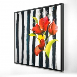 Framed 24 x 24 - 3D - Flowers on black and white stripes