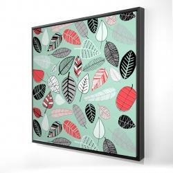 Framed 24 x 24 - 3D - Turquoise leaf patterns
