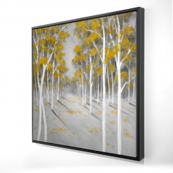 Framed 24 x 24 - 3D - Yellow birch forest