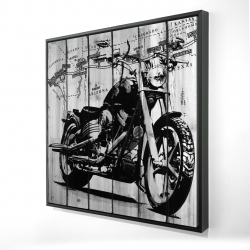 Framed 24 x 24 - 3D - Motorcycle grey and black