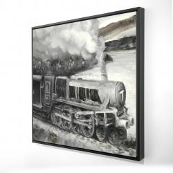 Framed 24 x 24 - 3D - Vintage passenger locomotive