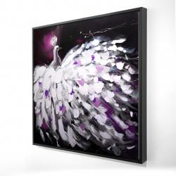 Framed 24 x 24 - 3D - Purple peacock