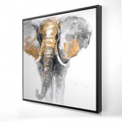 Framed 24 x 24 - 3D - Golden elephant