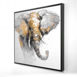 Framed 24 x 24 - 3D - Beautiful golden elephant