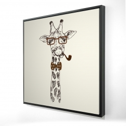 Framed 24 x 24 - 3D - Funny giraffe with a pipe