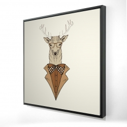 Framed 24 x 24 - 3D -  deer with brown coat