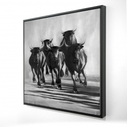 Framed 24 x 24 - 3D - Group of bulls at galops