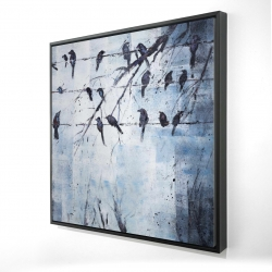 Framed 24 x 24 - 3D - Abstract birds on electric wire