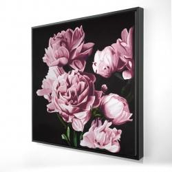 Framed 24 x 24 - 3D - Pink peonies