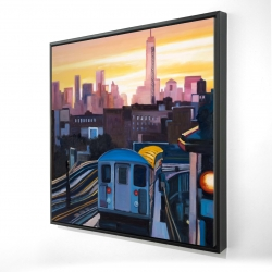 Framed 24 x 24 - 3D - Sunset over the subway in new-york