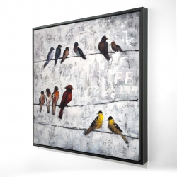 Framed 24 x 24 - 3D - Colorful birds on branches