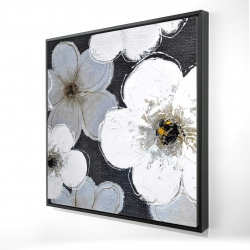 Framed 24 x 24 - 3D - Gray flowers