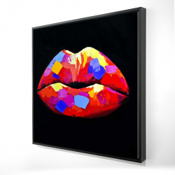 Framed 24 x 24 - 3D - Colorful lipstick