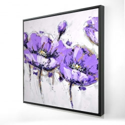 Framed 24 x 24 - 3D - Abstract purple flowers