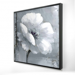 Framed 24 x 24 - 3D - Gray & white flowers