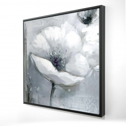 Framed 48 x 48 - 3D - Grayscale flowers