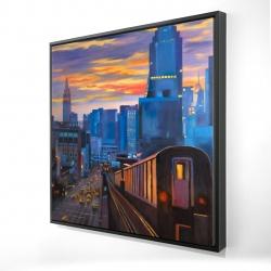 Framed 24 x 24 - 3D - Subway in new-york city