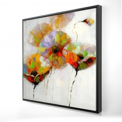Framed 24 x 24 - 3D - Color dotted flowers
