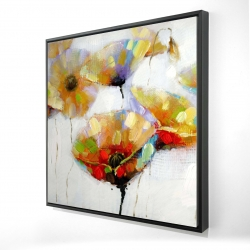 Framed 36 x 36 - 3D - Color spotted flowers