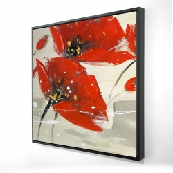 Framed 24 x 24 - 3D - Abstract red flowers in the wind