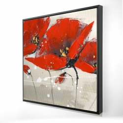 Framed 24 x 24 - 3D - Red flowers with an handwritten typo