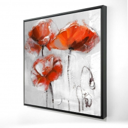 Framed 24 x 24 - 3D - Red flowers