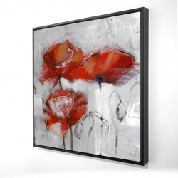 Framed 24 x 24 - 3D - Abstract poppies