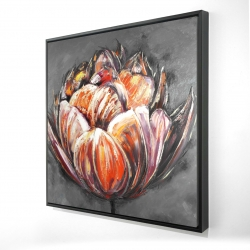 Framed 24 x 24 - 3D - Double and abstract orange tulip