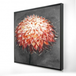 Framed 24 x 24 - 3D - Abstract dahlia flower