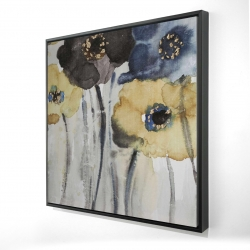 Framed 24 x 24 - 3D - Gray blue and yellow flowers