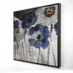 Framed 24 x 24 - 3D - Blue blurry flowers