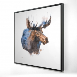 Framed 48 x 48 - 3D - Abstract blue moose