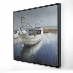 Framed 24 x 24 - 3D - Blue fishing boat