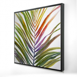 Framed 24 x 24 - 3D - Watercolor tropical palm leave