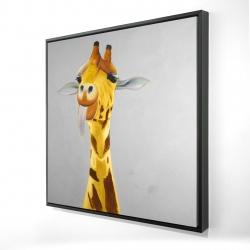 Framed 24 x 24 - 3D - Funny giraffe face