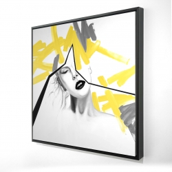 Framed 24 x 24 - 3D - Woman with yellow line