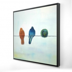 Framed 24 x 24 - 3D - Perched abstract birds
