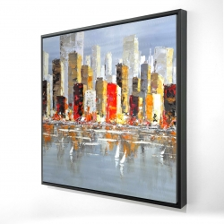 Framed 24 x 24 - 3D - Colorful buildings with water reflection