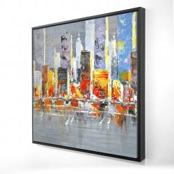 Framed 24 x 24 - 3D - Color splash cityscape