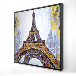 Framed 24 x 24 - 3D - Abstract paint splash eiffel tower