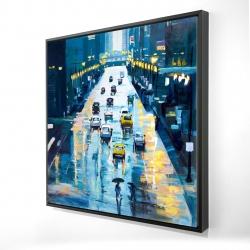 Framed 24 x 24 - 3D - Rainy streets of new york