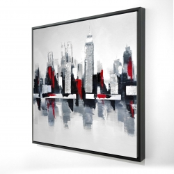 Framed 24 x 24 - 3D - Gray and red cityscape