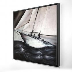 Framed 24 x 24 - 3D - Boat in a violent storm