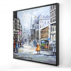 Framed 24 x 24 - 3D - Busy street by a cloudy day