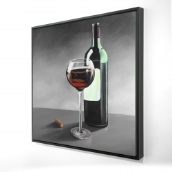 Framed 24 x 24 - 3D - Bottle of burgundy