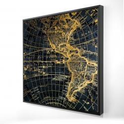 Framed 24 x 24 - 3D - Blue and marine world map globe