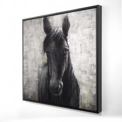 Encadré 24 x 24 - 3D - Cheval noir