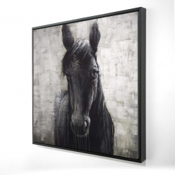 Framed 24 x 24 - 3D - Black horse