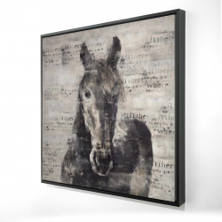 Framed 24 x 24 - 3D - Abstract horse with typography